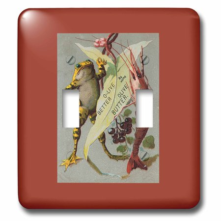 3dRose O-Live Better Olive Butter with Frog, Shrimp and Grapes - Double Toggle - Live Shrimp