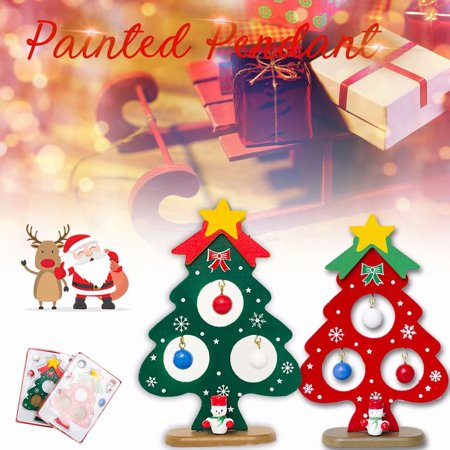 Wooden Tabletop Mini Christmas Ornaments Tree with Santa, Snowman Miniature Wooden Ornaments Xmas Decoration Gift, Green - Mini Halloween Tree Ornaments