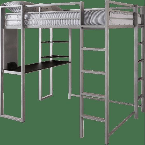 Full Metal Loft Bed Over Workstation Desk