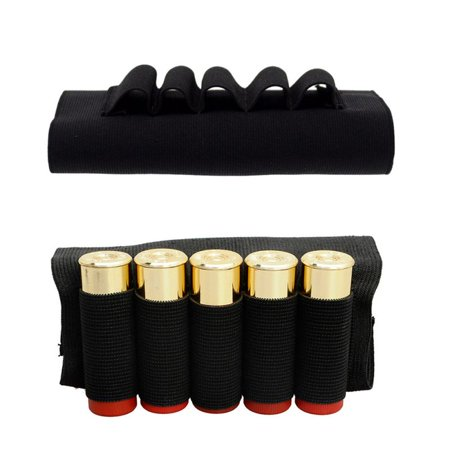 BALIGH Outdoor Airsoft Rifle Shotgun Shells 5 Butt cartridges Stock Shell Holder Elastic Shotshell Ammunition Carrier Hunting (Best Folding Shotgun Stock)