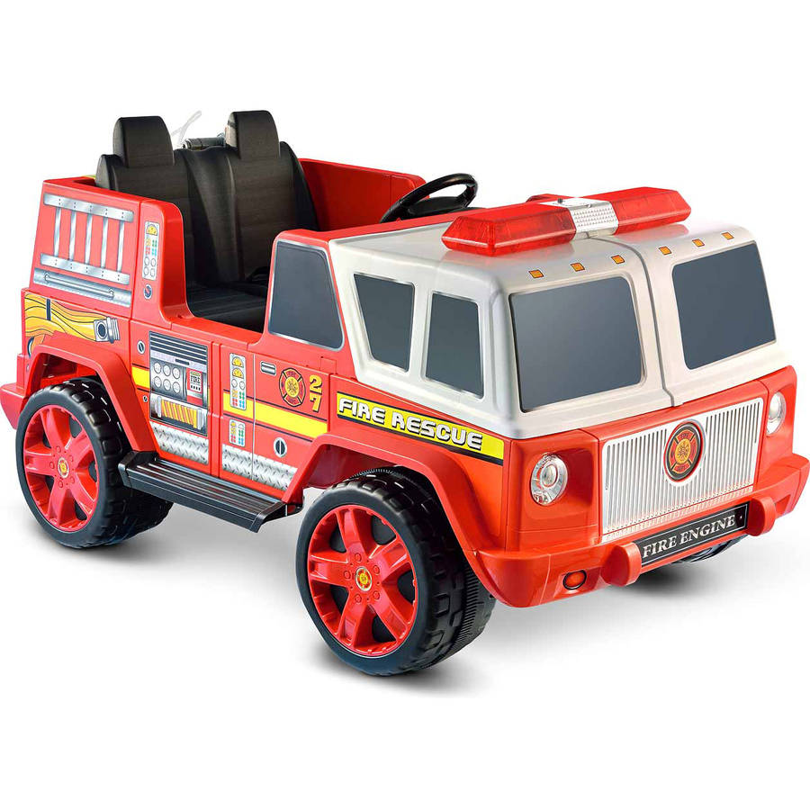 vt fire rescue zero team battery operated childrens kids bump and go toy fire truck w flashing lights sounds 360 rotating extending crane