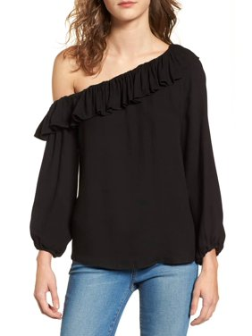 3b19e74ef6ee5 Product Image Ella Moss NEW Black Womens Size Small S Ruffle One-Shoulder  Blouse