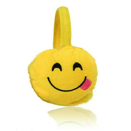 Emoji Fashion Unisex Emoticon Ear Warmers Plush Earmuff and Knit Gloves Sold in Sets or Separately, USA COMPANY (Earmuff & Glove Set, COOL Smile-Sunglasses) (GOOFY Smile-Tongue Earmuff) - Mj Gloves