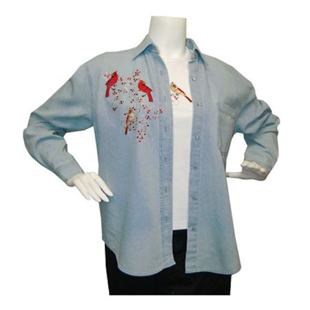 Tia Designs Women's Denim Bird Shirt - M