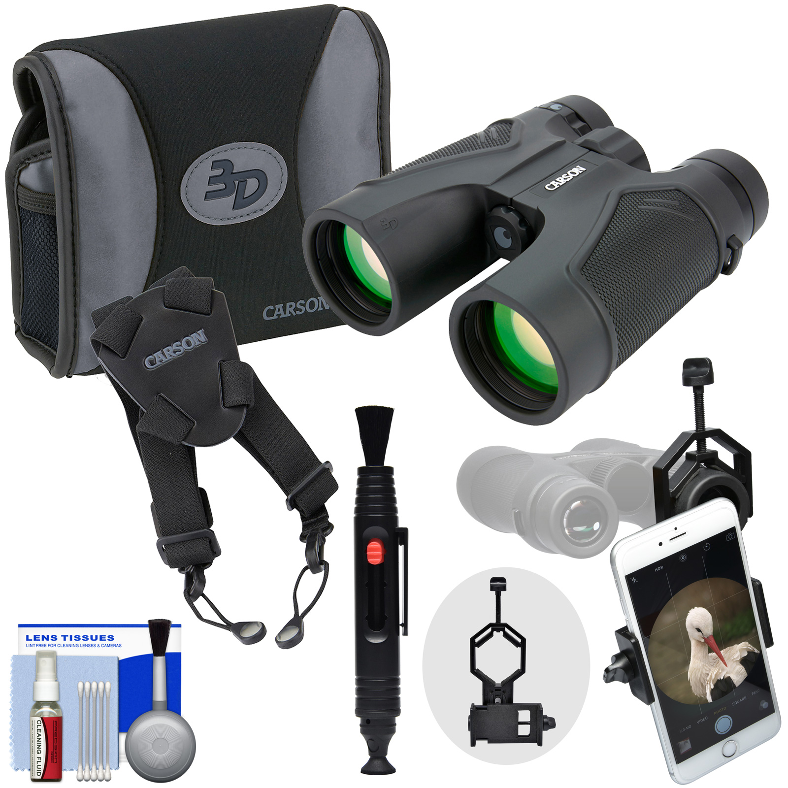 Carson 3D Series 10x42 ED Waterproof / Fogproof Binoculars & Case with Shoulder Harness   Smartphone Adapter   Kit