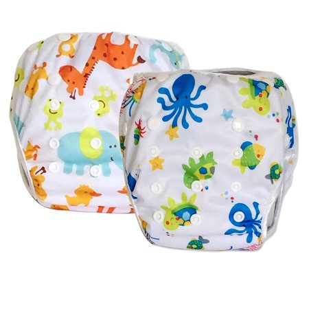 2 Pack Leakproof Reusable Swim Diapers, 0 to 3 years