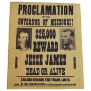 Jesse James Gang Wanted Dead or Alive Outlaw Poster Old West Bar Pub Wall Decor