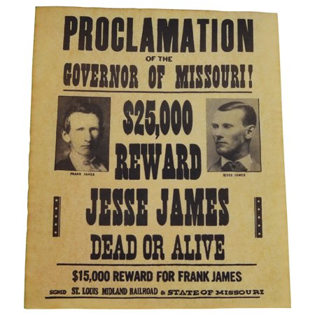 Jesse James Gang Wanted Dead or Alive Outlaw Poster Old West Bar Pub Wall Decor - Old West Decor