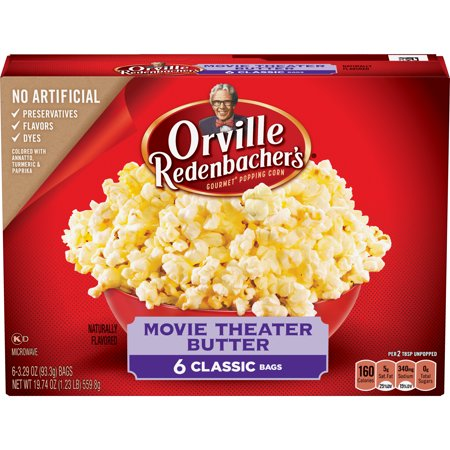 Orville Redenbachers Movie Theater Butter Microwave Popcorn  Classic Bag  6 Ct