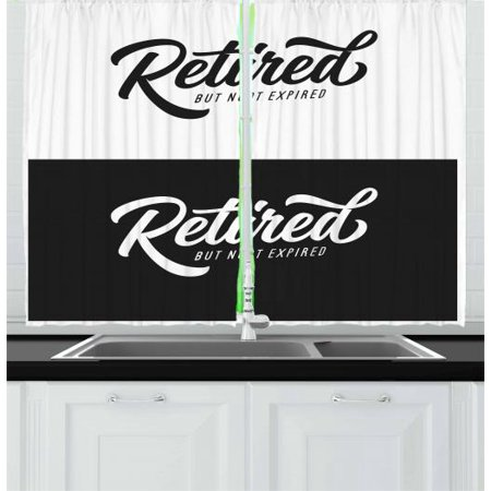 Retirement Party Curtains 2 Panels Set, Senior Theme Motivational Saying Retired But Not Expired, Window Drapes for Living Room Bedroom, 55W X 39L Inches, White and Charcoal Grey, by Ambesonne