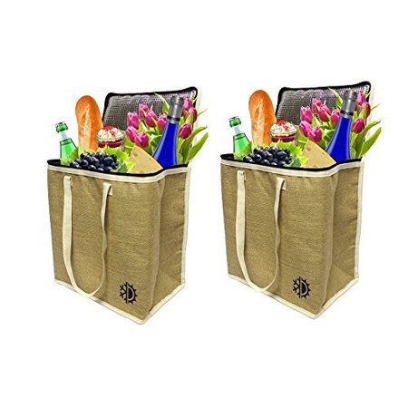 Earthwise Large Jute Insulated Shopping Grocery Bags w ZIPPER TOP LID Thermal Cooler Tote KEEPS FOOD HOT OR COLD (Set of 2) - Cold Finger Foods For Halloween