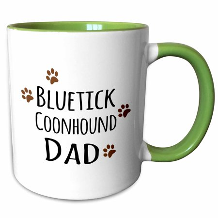 3dRose Bluetick Coonhound Dog Dad - Doggie by breed - brown muddy paw prints - doggy lover - pet owner - Two Tone Green Mug, 11-ounce Bluetick Coonhound Dogs