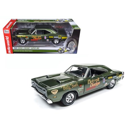 1969 Dodge Super Bee Wally Booth F8 Green Limited Edition to 1002pcs 1/18 Diecast Model Car by Autoworld - Vacation Wally World