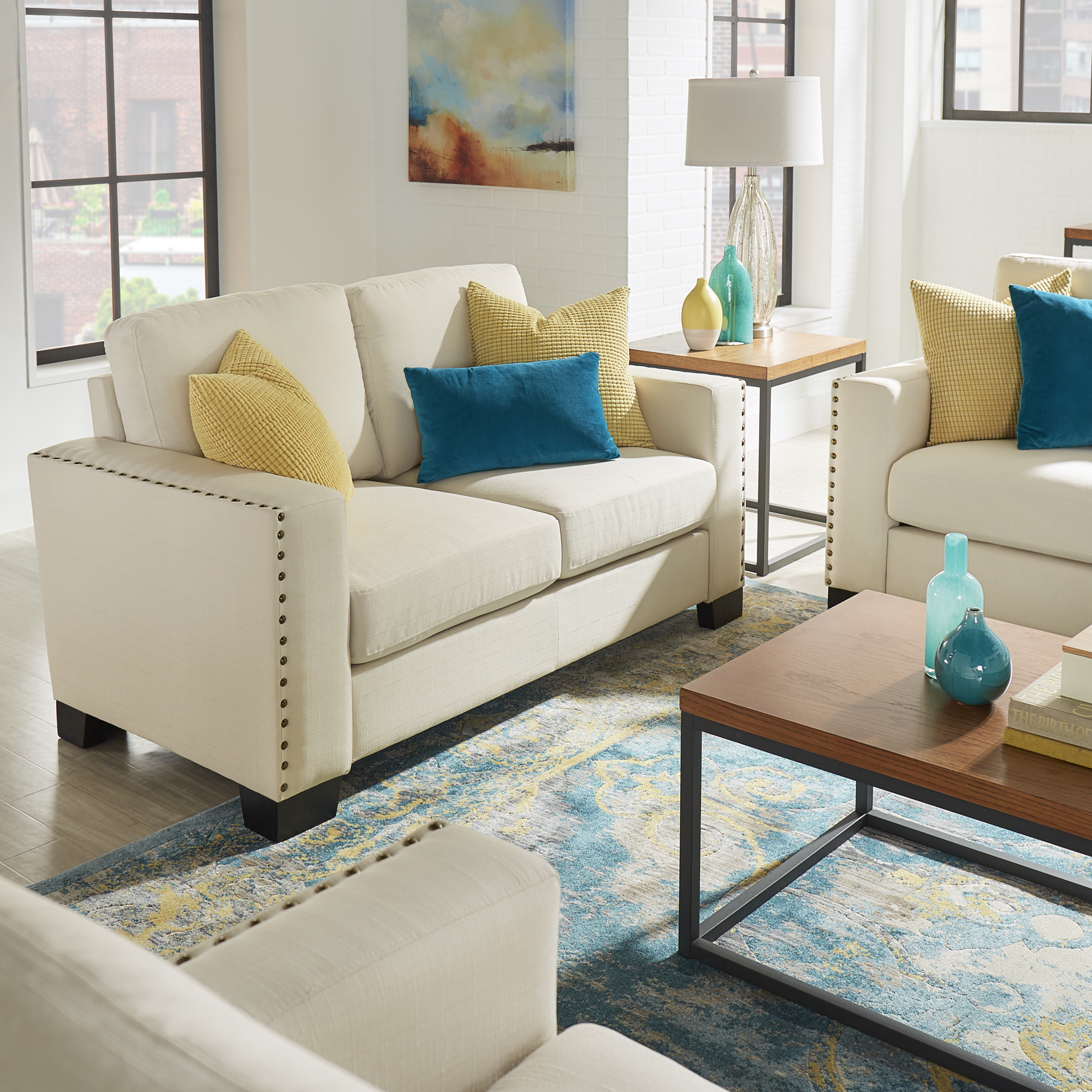 Chelsea Lane Nailhead Trim Love Seat, White Linen
