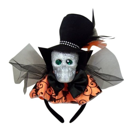 Halloween Costume Glitter Skull Bat Headband Accessory