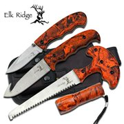 Elk Ridge ER-273OC Combo Knife, 4 Piece Multi-Colored
