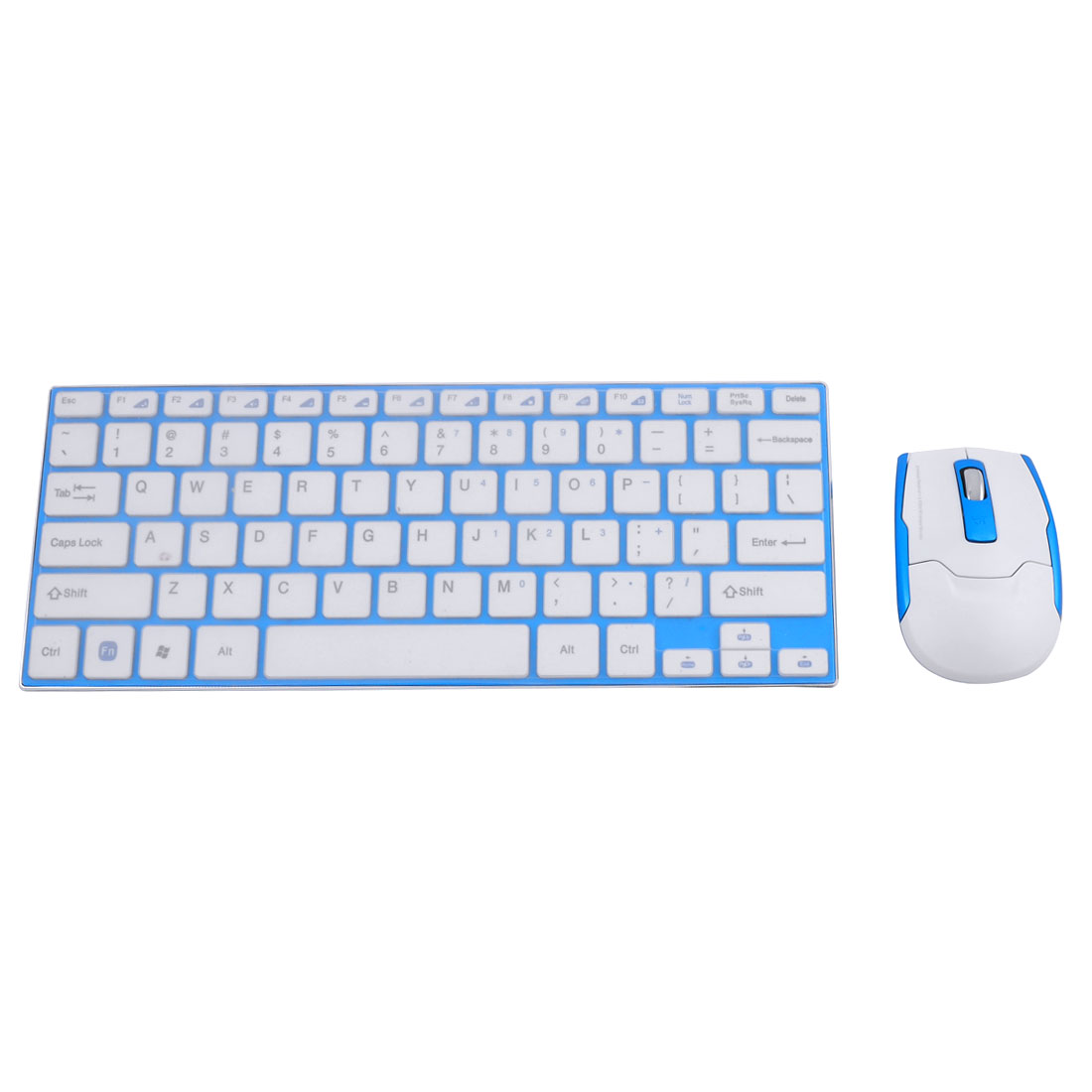 Ultra Slim 2.4G Wireless Keyboard Blue for Computer Tablet w Optical Mouse Set