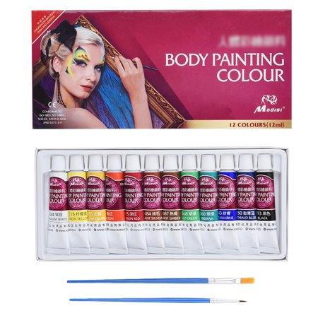 Halloween Face Paint Instructions (Face Painting Set - Pretty See, Body Paint Kit contains 12 different color with Rich Pigment and 2 Free Paintbrushes, Suitable for Face and Body)