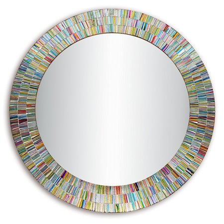 Bohemian Rainbow Rhapsody Wall Mirror -Glass Mosaic Decorative Wall Mirror, Multi Color Spectrum Wall Mountable, 24