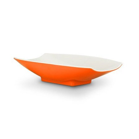 - 6 x 3 1/2 x 1 1/2 Melamine Curves Bowl Orange Outside / White Inside, Case Of 36