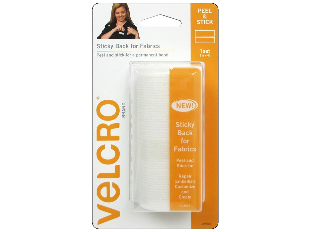 "VELCRO(R) Brand STICKY BACK For Fabric Tape 4""X6""-White"