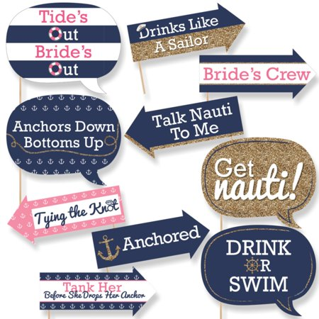 Funny Last Sail Before The Veil - Nautical Bridal Shower & Bachelorette Party Photo Booth Props Kit - 10 Count - Nautical Supply International
