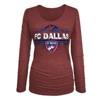 FC Dallas 5th & Ocean by New Era Women's Tri-Blend U-Neck Long Sleeve T-Shirt - Red
