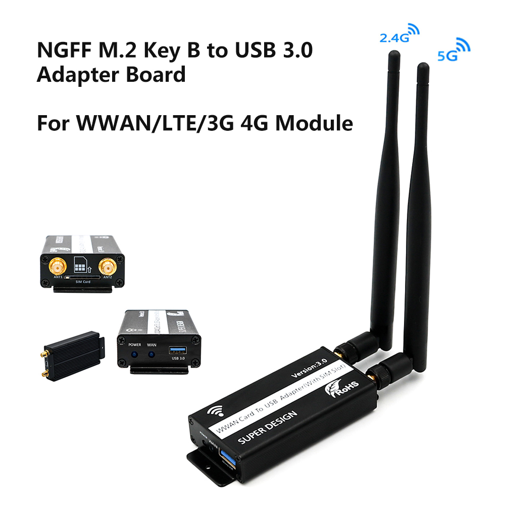 NGFF M.2 Key B to USB Adapter with SIM Card 8 Pin Slot for WWAN//LTE//4G Module