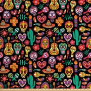 Day of the Dead Fabric by The Yard, Continuous Sugar Skull Flowers Pepper and Maracas Pattern, Decorative Fabric for Upholstery and Home Accents, by Ambesonne