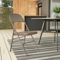 Hercules Hinged Metal Folding Chair - 4-Pack, Beige