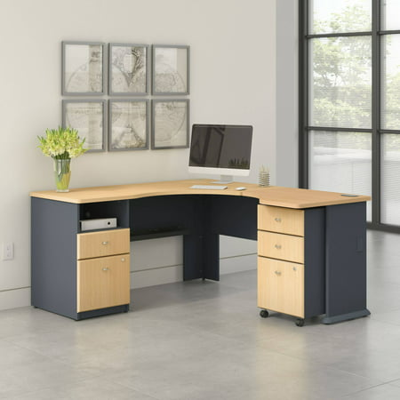 Access L Shaped Corner Desk with Pedestal and Mobile Pedestal in