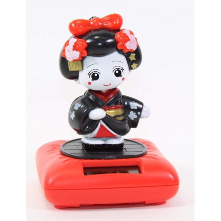 Black Standing Geisha Red Base Solar Powered Japanese Kimono Girl Car Bobble Head Doll Toy Home Decor Figurine Birthday Blessing Gift US SellerNot.., By We pay your sales tax