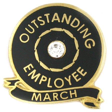 Outstanding Employee of the Month March w/ Rhinestone Enamel Lapel - Employee Lapel Pin