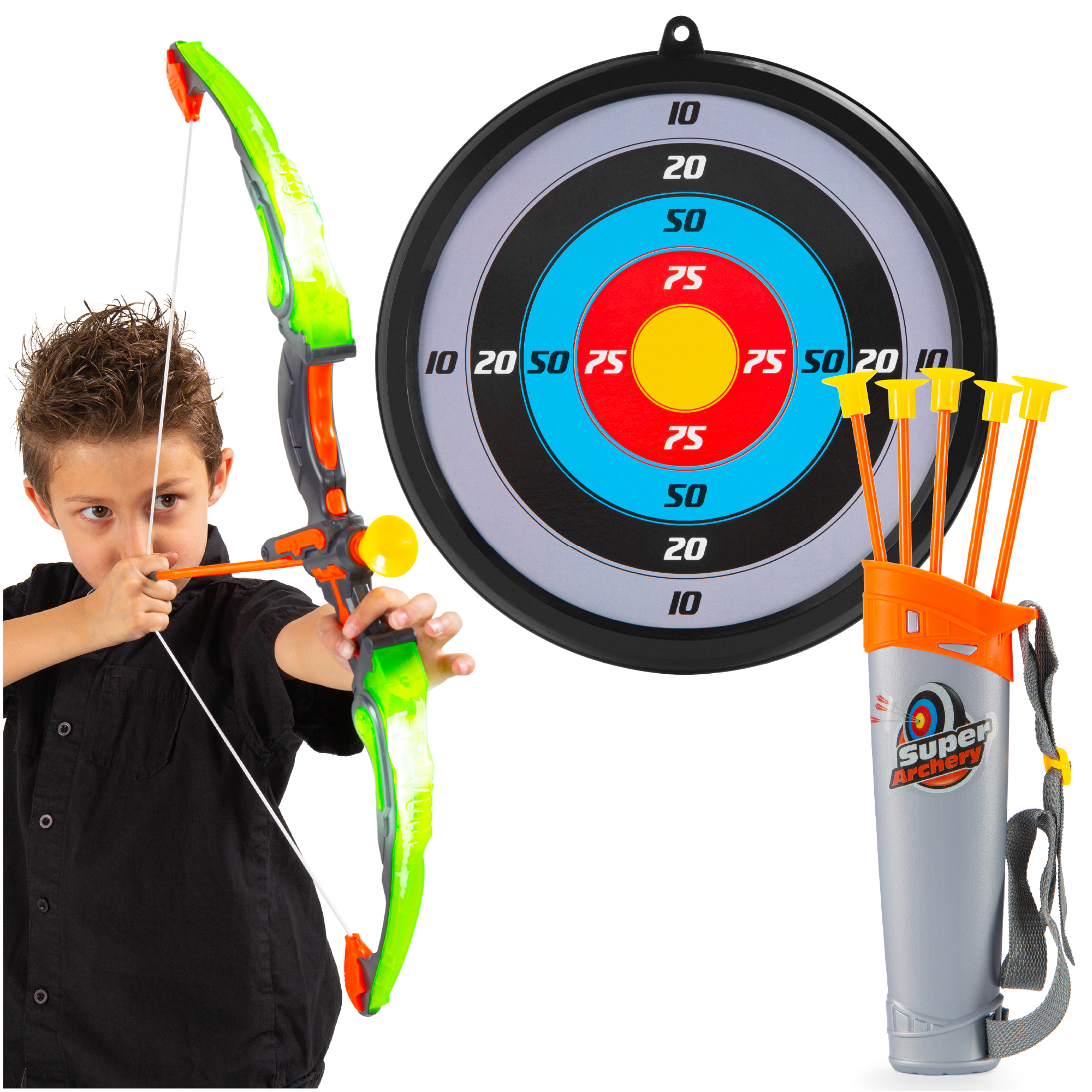 Suction Cup Arrows and Quiver NeatoTek 2 Packs Kids Archery Bow Arrow Toy Set with Targets LED Light Up Function Toy for Boys Girls Indoor and Outdoor Play
