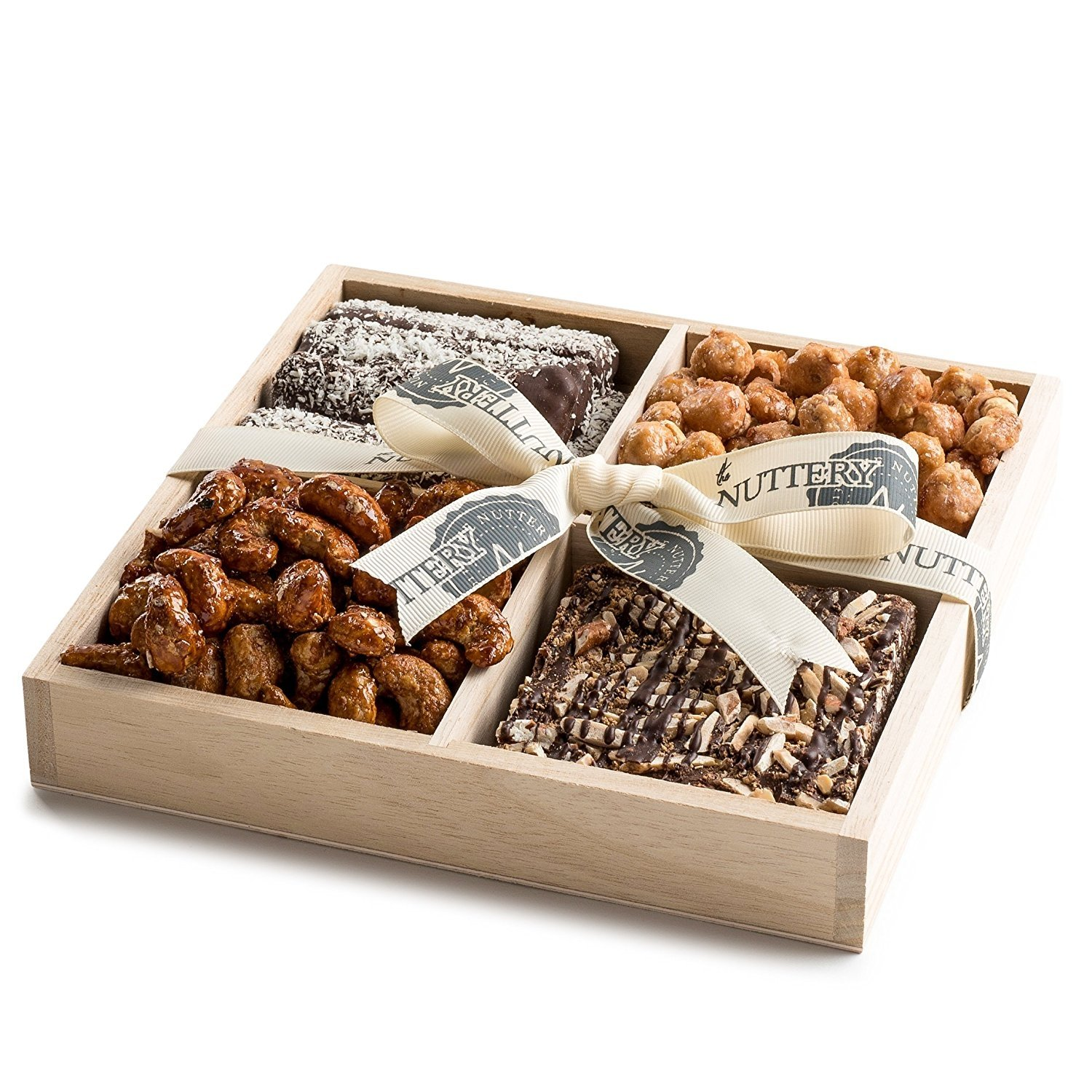 The Nuttery Nuts and Chocolate Gift Basket-Nuts and Chocolate Mix- Wooden Tray Sectional-Kosher Chocolate Gift Platter