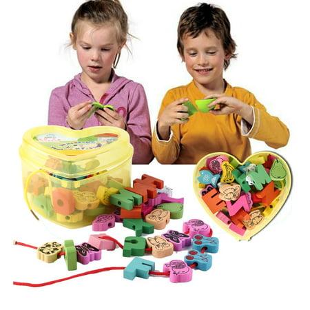 Wooden Lacing Beads Animals Blocks Heart-shape Box Threading Educational Toy