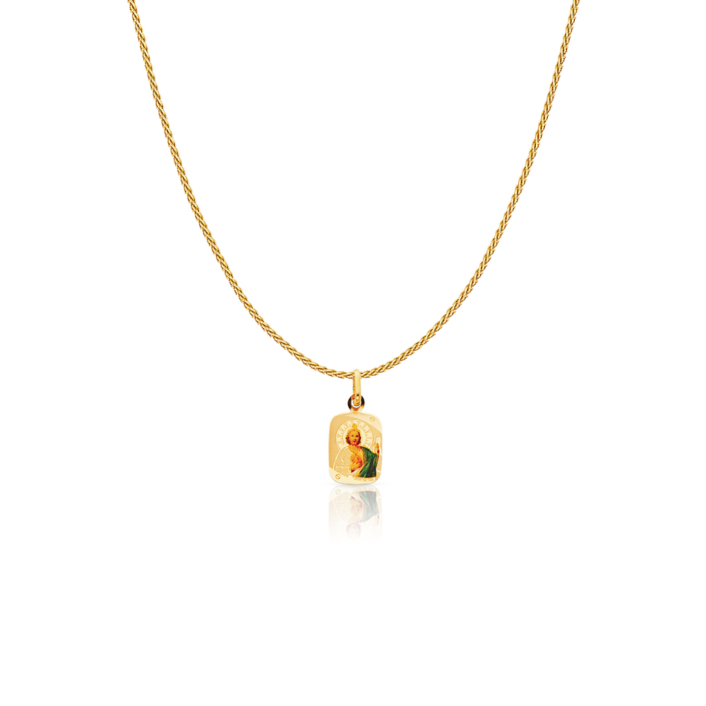 Jude Enamel Picture Charm Pendant with 0.9mm Wheat Chain Necklace 14K Yellow Gold St