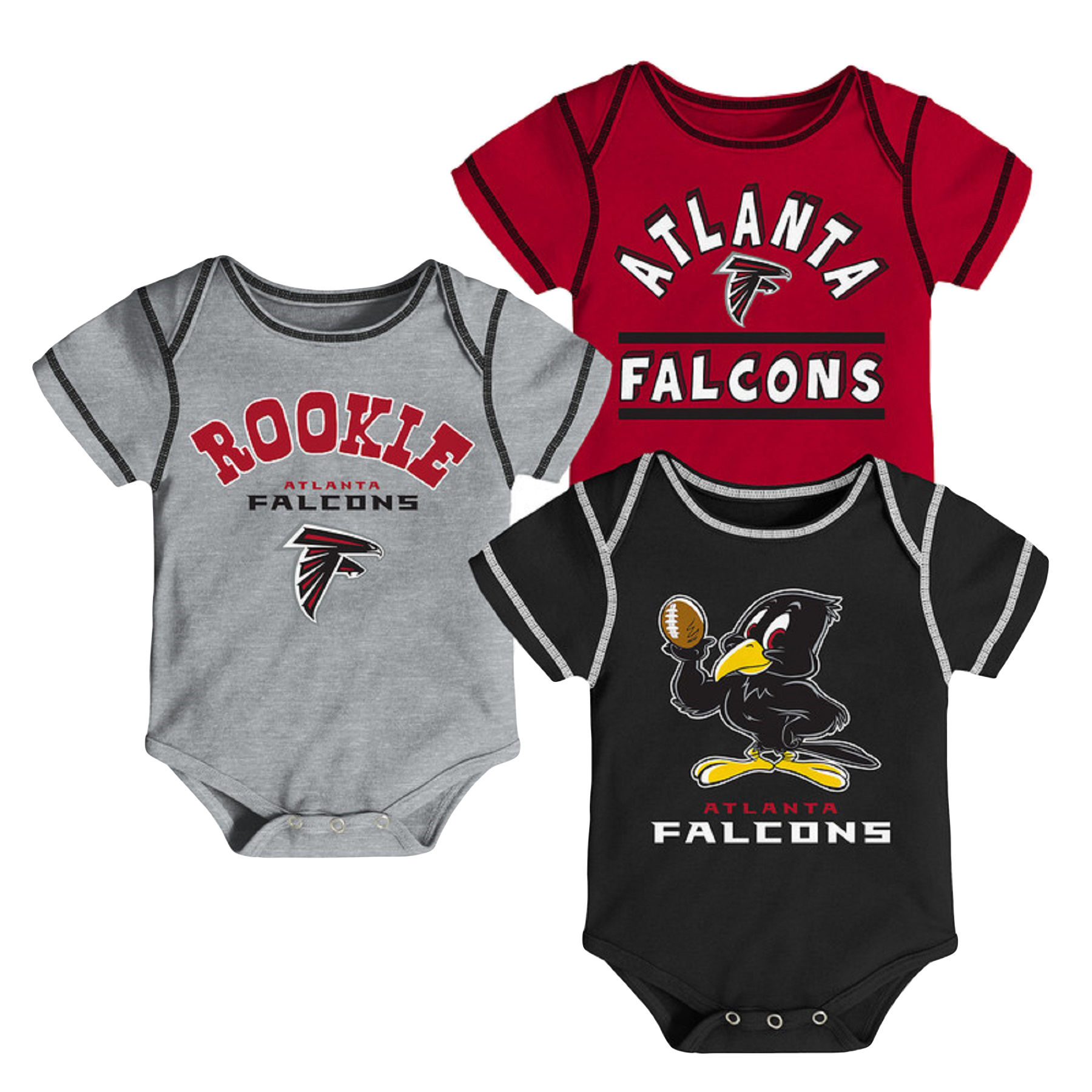 Newborn & Infant Red/Black/Gray Atlanta Falcons 3-Pack Bodysuit Set