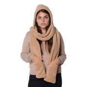 Women's Winter Fashion Accessories Khaki 3 in1 Soft & Cozy Fleece Hooded Hat Neck Head Scarf Mitten Polyester Mothers Day Gifts