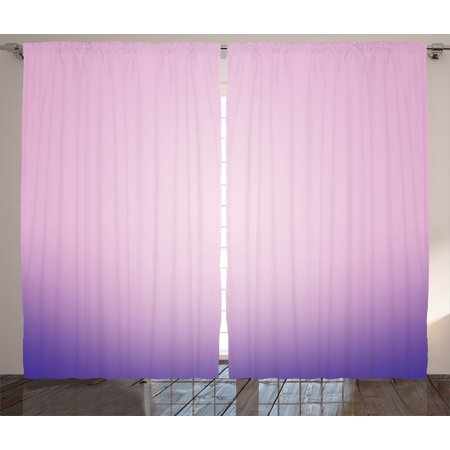 Lavender Curtains 2 Panels Set, Pink and Purple Ombre Print Modern ...