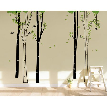 Pop decors birch tree forest wall mural for Birch tree forest wall mural