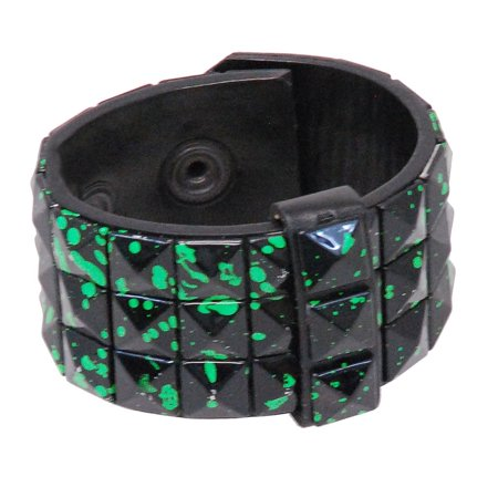 Black and Green Triple Row Pyramid Studded Leather Wristband #WB136GN Row Pyramid Stud Leather