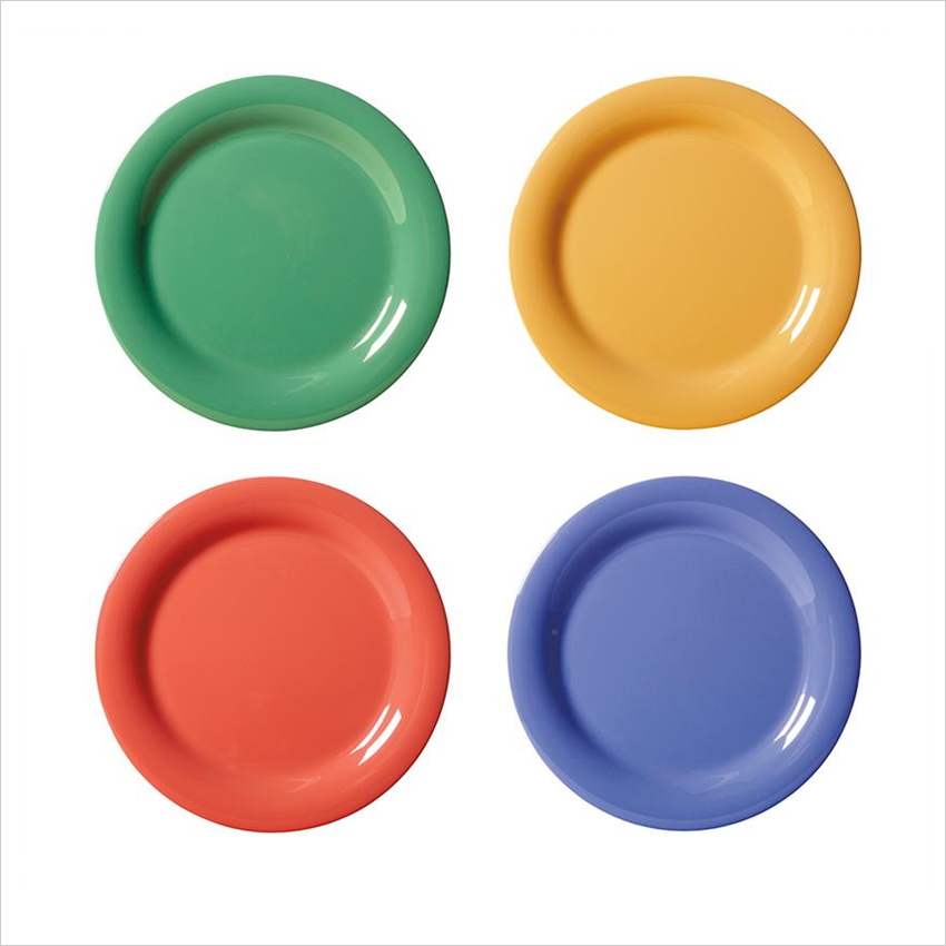Diamond Mardi Gras 10.5 inch Narrow Rim Plate Mix Pack of 4 Mardi Gras Colors Melamine/Case of 12