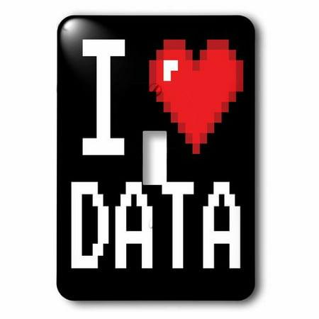 3dRose Geeky Old School Pixelated Pixels 8-Bit I Heart I Love Data, Single Toggle Switch
