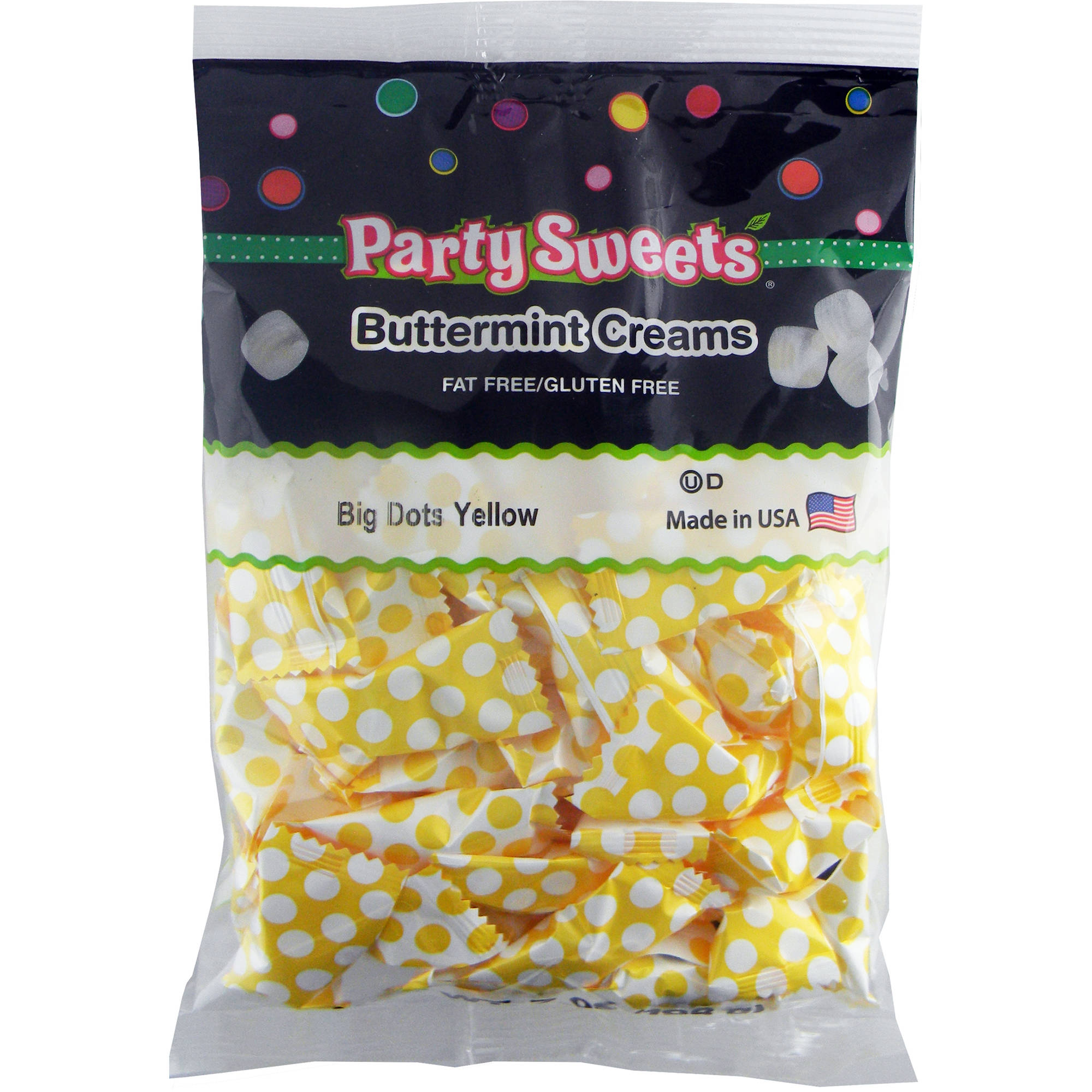 Party Sweets Big Dots Yellow Buttermint Creams Candy, 7 oz