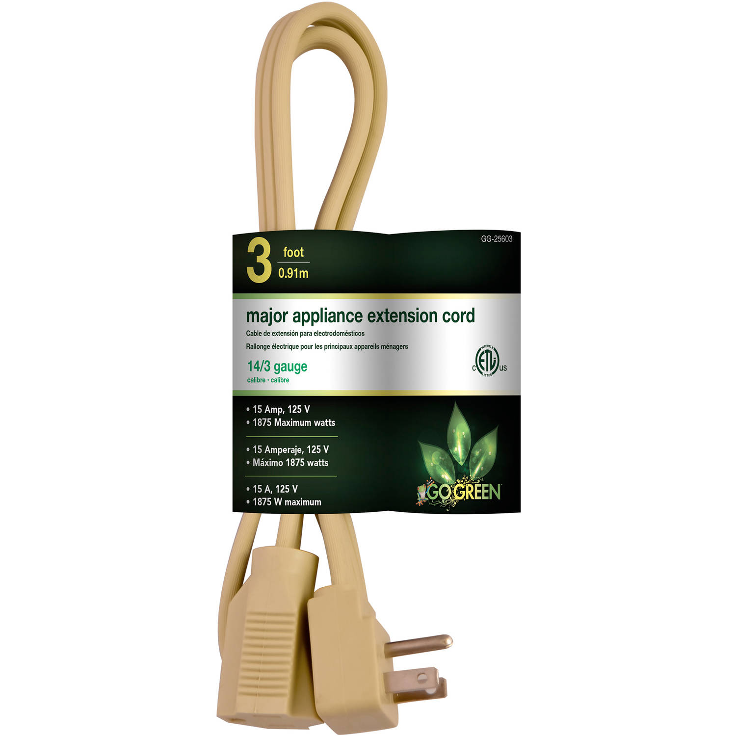 GoGreen Power 14/3 3' Appliance Cord, Beige, 25603