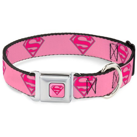 Dog Collar SMG-Superman Pink - Superman Shield Pink - Large 15-26