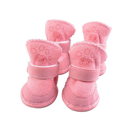 Topcobe Pet Puppy Shoes Anti-Slip Snow Shoes, Sheep Cashmere Pet Booties Boots with Warm Fur, T029P1 Puppy Winter Warm Shoes(Pink, Size 1: 1.69