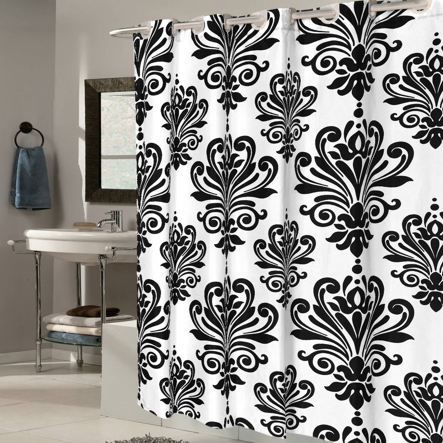 "EZ On EVA Shower Curtain with Built in Hooks, Fleur De Lis, 72"" x 72"""