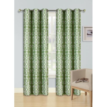 "VERA GREEN  Printed Thermal Insulated 100% BLACKOUT Grommet Top Window Curtain Treatment, Set of Two (2) Floral Swirl Pattern Darkening Panels 37""in Wide x 84""in Length (Each)"